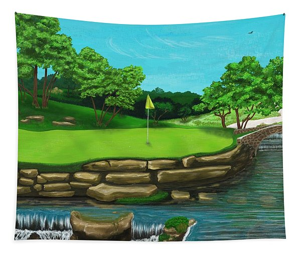 Golf Green Hole 16 Tapestry