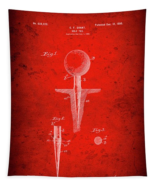 Golf Tee Patent  1899 Tapestry