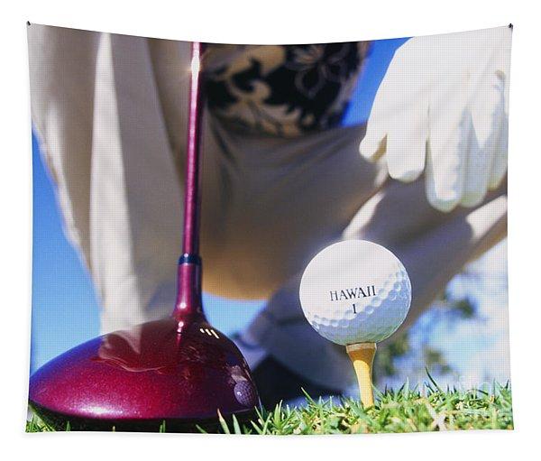 Golfer Sets Up His Shot Tapestry