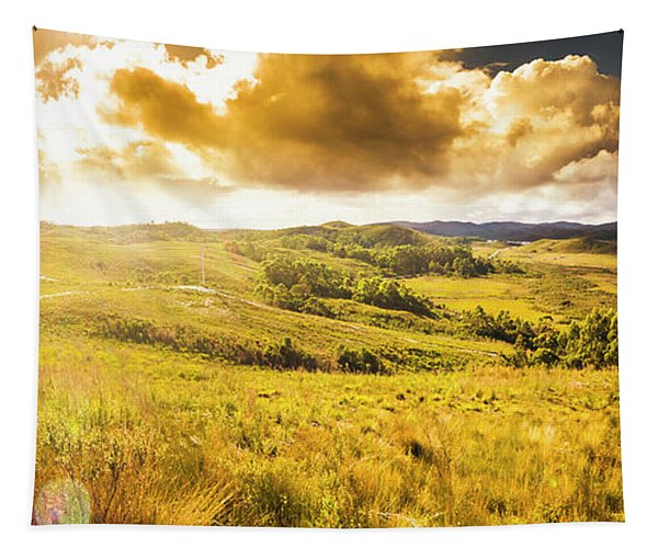 Gorgeous Golden Sunset Field  Tapestry