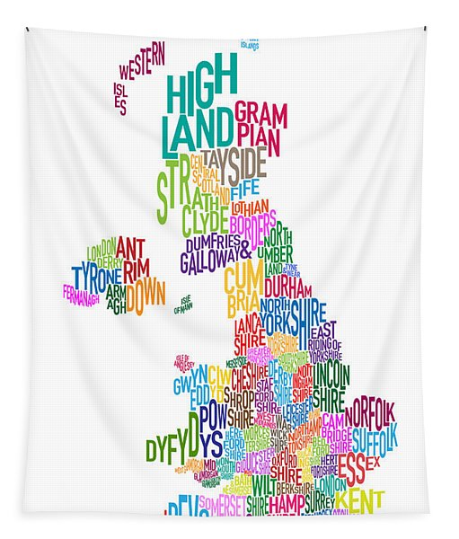 Great Britain County Text Map Tapestry