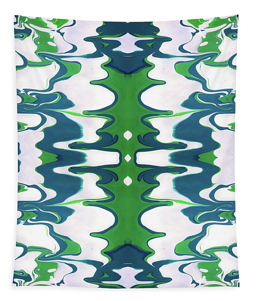 Green And Blue Swirl- Art By Linda Woods Tapestry