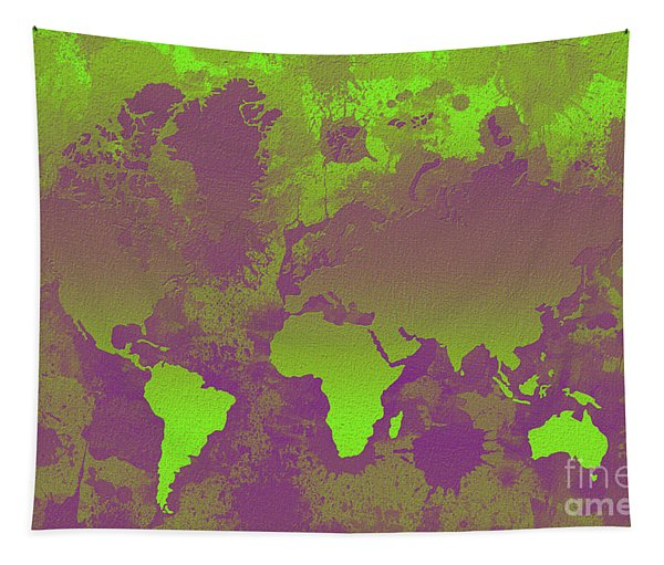 Green And Purple World Map Tapestry
