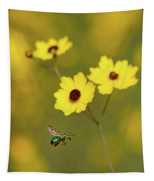 Green Metallic Bee Tapestry