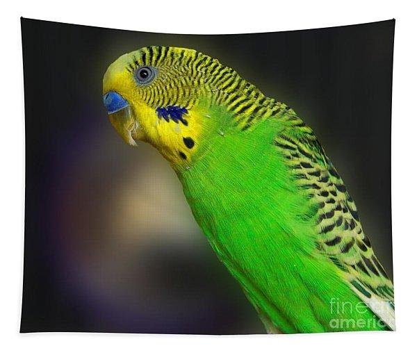 Green Parakeet Portrait Tapestry
