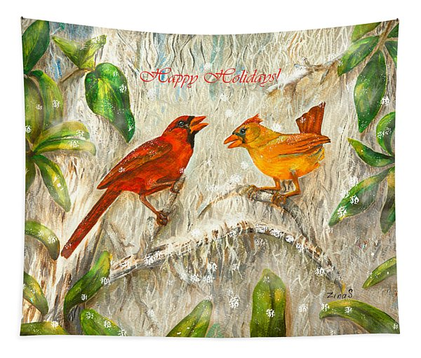 Happy Holidays Red Birds Cardinals Tapestry