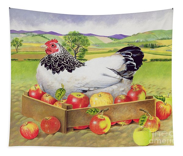 Hen In A Box Of Apples Tapestry