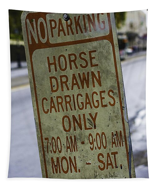 Horse Drawn Carriage Parking Tapestry