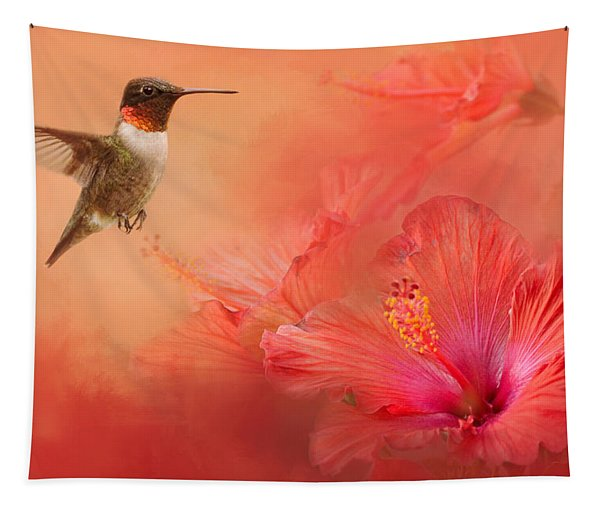 Hummingbird And Peach Hibiscus Tapestry