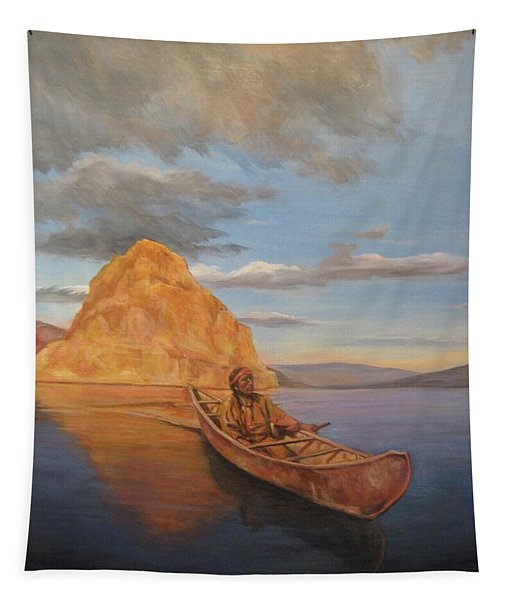 Indian On Lake Pyramid Tapestry