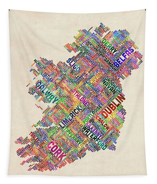 Ireland Eire City Text Map Derry Version Tapestry