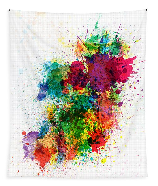 Ireland Map Paint Splashes Tapestry