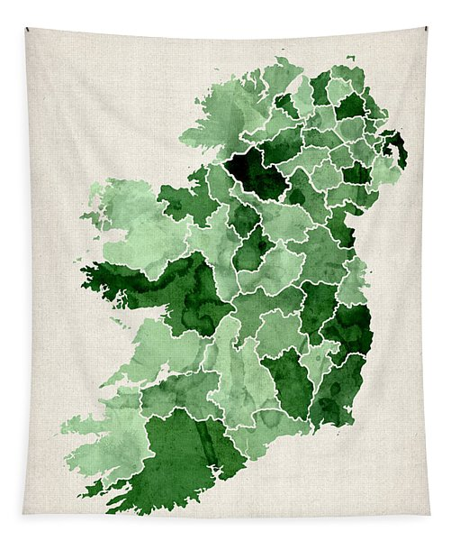 Ireland Watercolor Map Tapestry