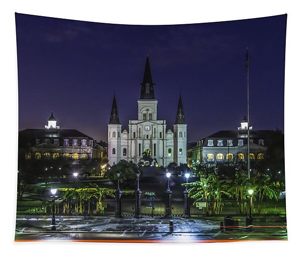 Jackson Square And St. Louis Cathedral At Dawn, New Orleans, Louisiana Tapestry