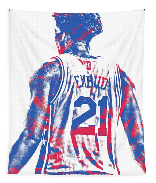 Joel Embiid Philadelphia Sixers Pixel Art 11 Tapestry