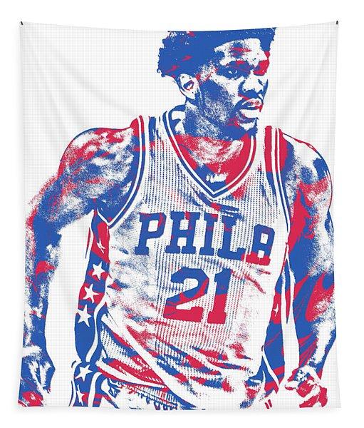 Joel Embiid Philadelphia Sixers Pixel Art 12 Tapestry