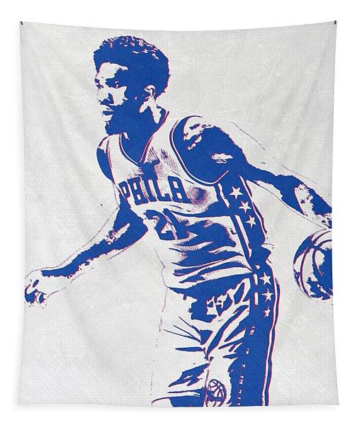 Joel Embiid Philadelphia Sixers Pixel Art Tapestry