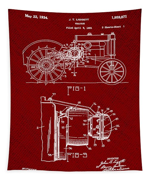 John Deere Tractor Patent 1934 In Red Tapestry