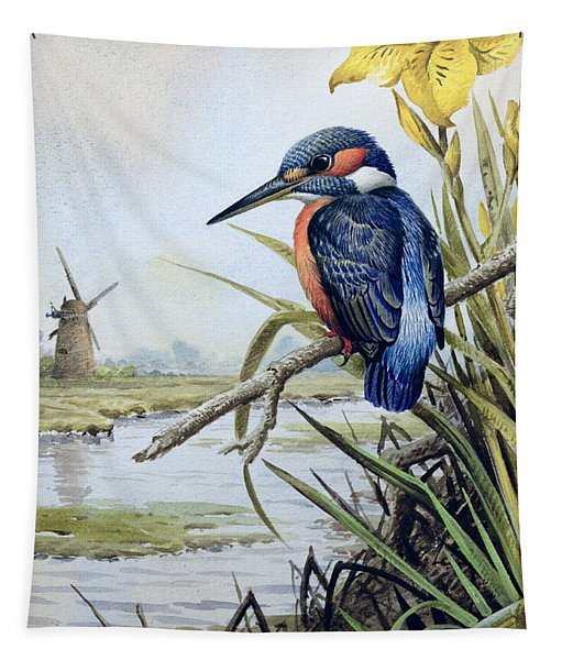 Kingfisher With Flag Iris And Windmill Tapestry