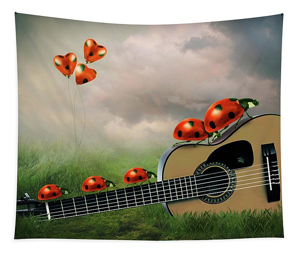 Ladybugs With Guitar Tapestry