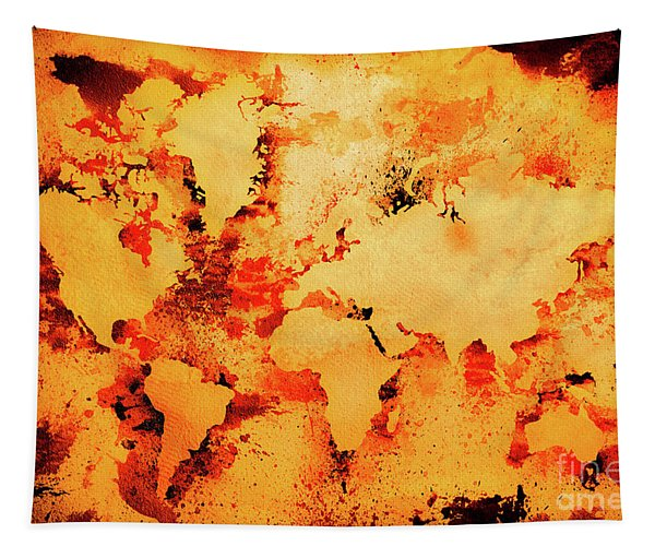 Lava World Map Tapestry