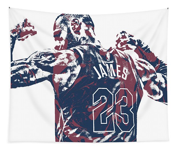 Lebron James Cleveland Cavaliers Pixel Art 53 Tapestry