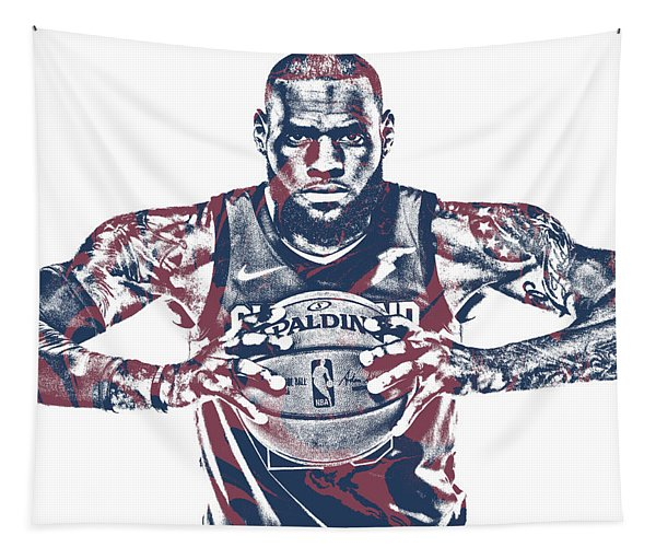 Lebron James Cleveland Cavaliers Pixel Art 54 Tapestry