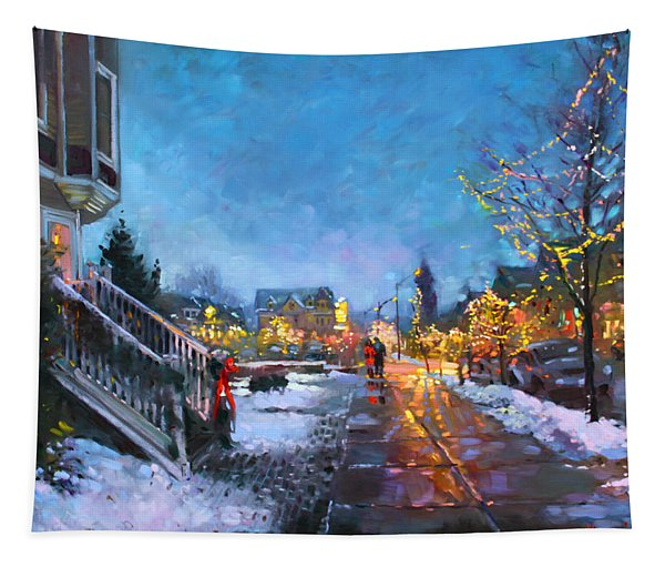Lights On Elmwood Ave Tapestry