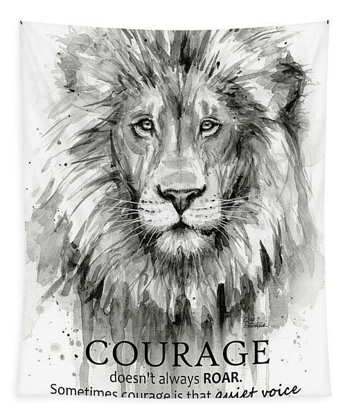 Lion Courage Motivational Quote Watercolor Animal Tapestry