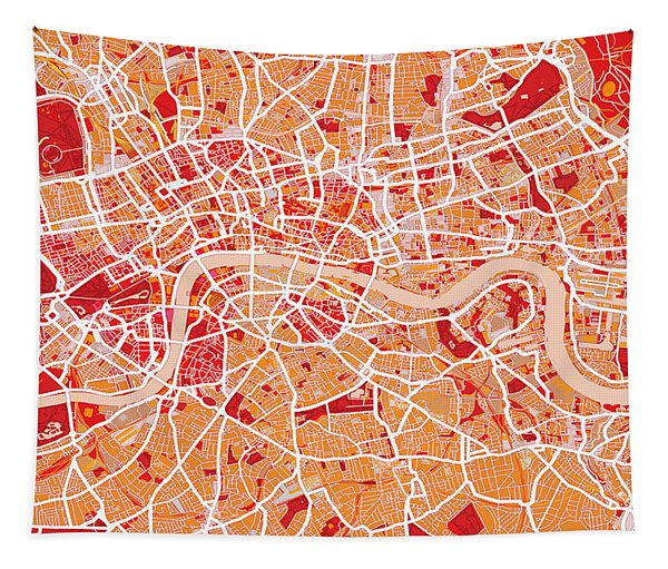 London Map Art Red Tapestry