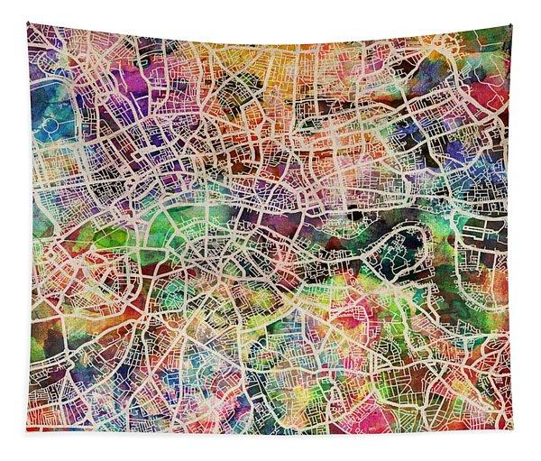 London Map Art Watercolor Tapestry