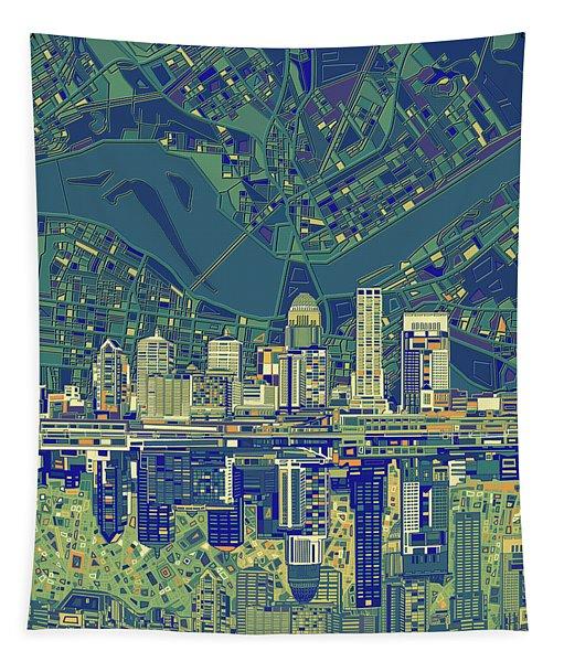 Louisville Kentucky Skyline Abstract 6 Tapestry