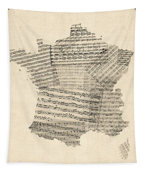 Map Of France Old Sheet Music Map Tapestry