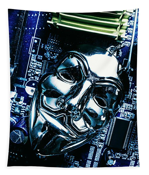 Metal Anonymous Mask On Motherboard Tapestry