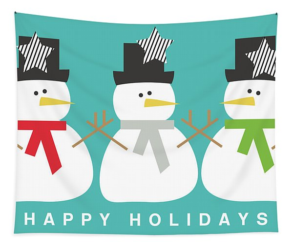 Modern Snowmen Happy Holidays- Art By Linda Woods Tapestry