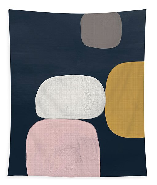 Modern Stones Navy 2- Art By Linda Woods Tapestry