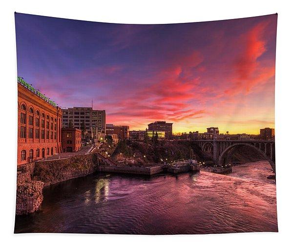 Monroe Bridge Sunset View Tapestry