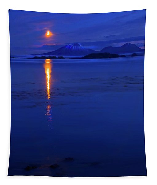 Moon Rise Over Mt. Edgecumbe Tapestry