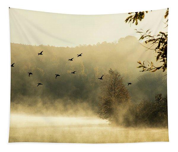 Morning Fog On Haley Pond In Rangeley Maine Tapestry