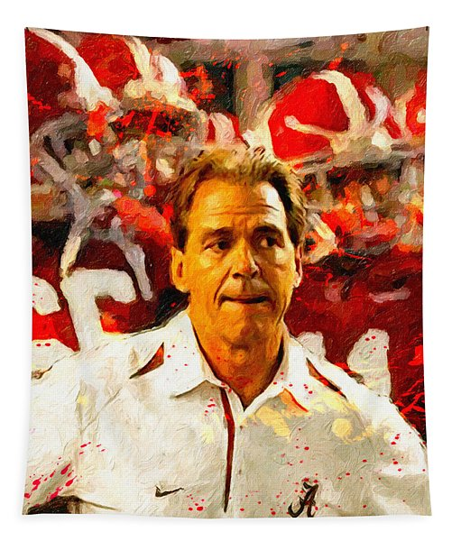 Nick Saban Roll Tide Two Tapestry