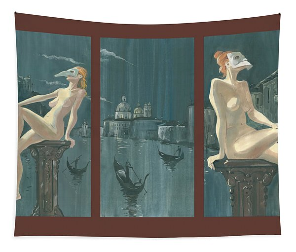 Night In Venice. Triptych Tapestry