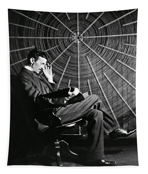 Nikola Tesla And Machine Tapestry