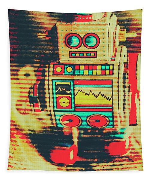 Nostalgic Tin Sign Robot Tapestry