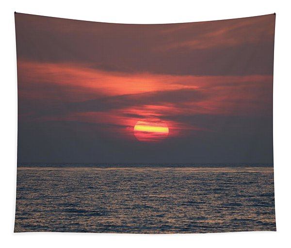 Tapestry featuring the photograph Ocean Sunset - 5 by Christy Pooschke
