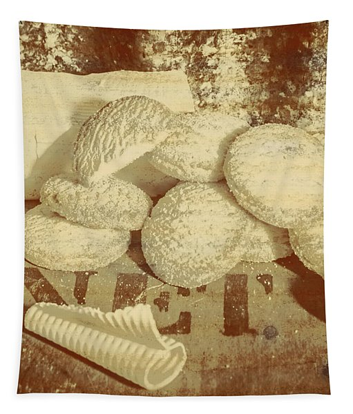 Old Cookie Tin Sign Art Tapestry