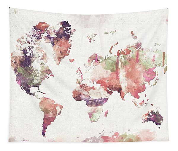 Old Memories World Map Tapestry