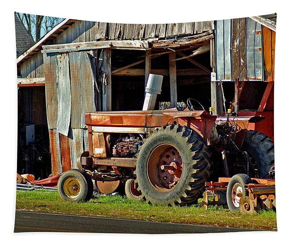 Old Red Tractor And The Barn Tapestry