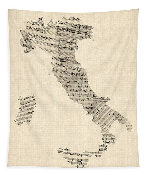 Old Sheet Music Map Of Italy Map Tapestry