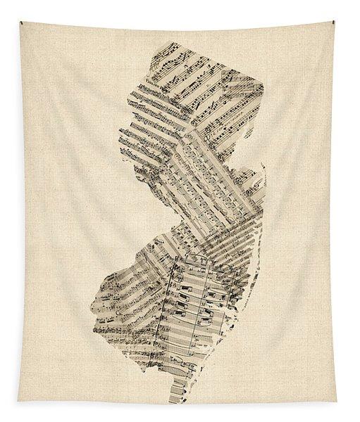 Old Sheet Music Map Of New Jersey Tapestry