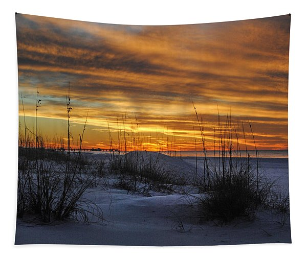 Orange Clouded Sunrise Over The Pier Tapestry